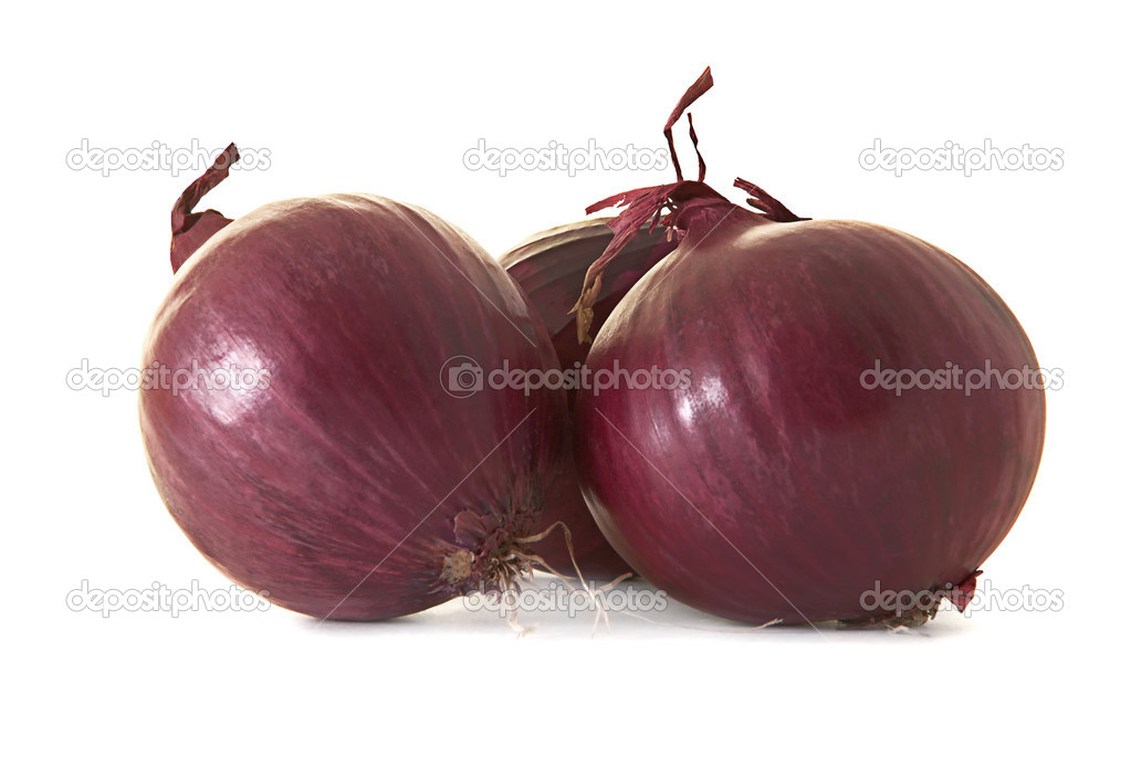 Red onions on a white background  Stock Photo #4928460
