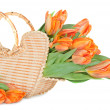Stock Photo: Tulips in wicker handbag
