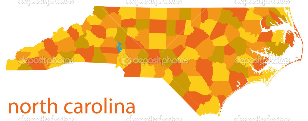 Detailed vector map of north carolina state  Stock Vector #4340912