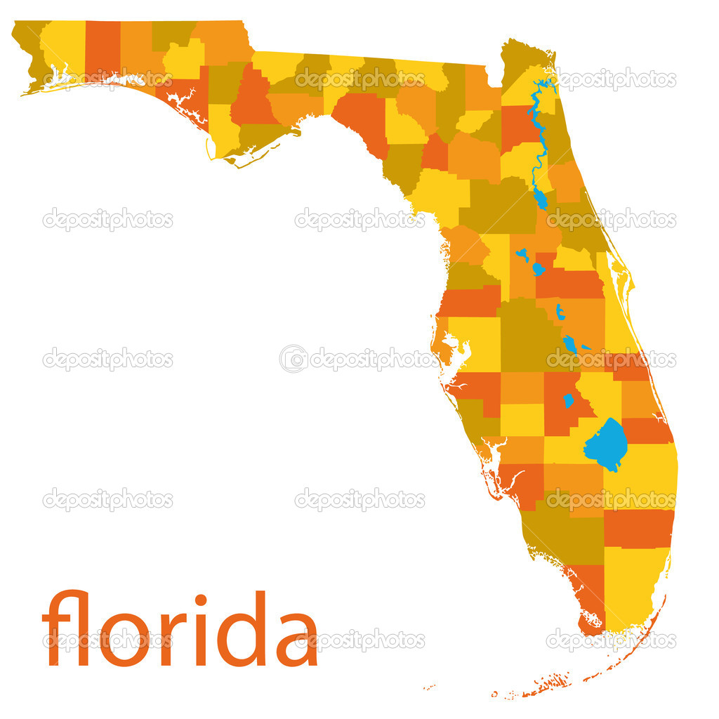 Detailed vector map of florida  Stock Vector #4388921