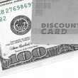 Discount card and money — Stock Photo