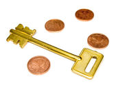 Key with EURO and coins — Stock Photo