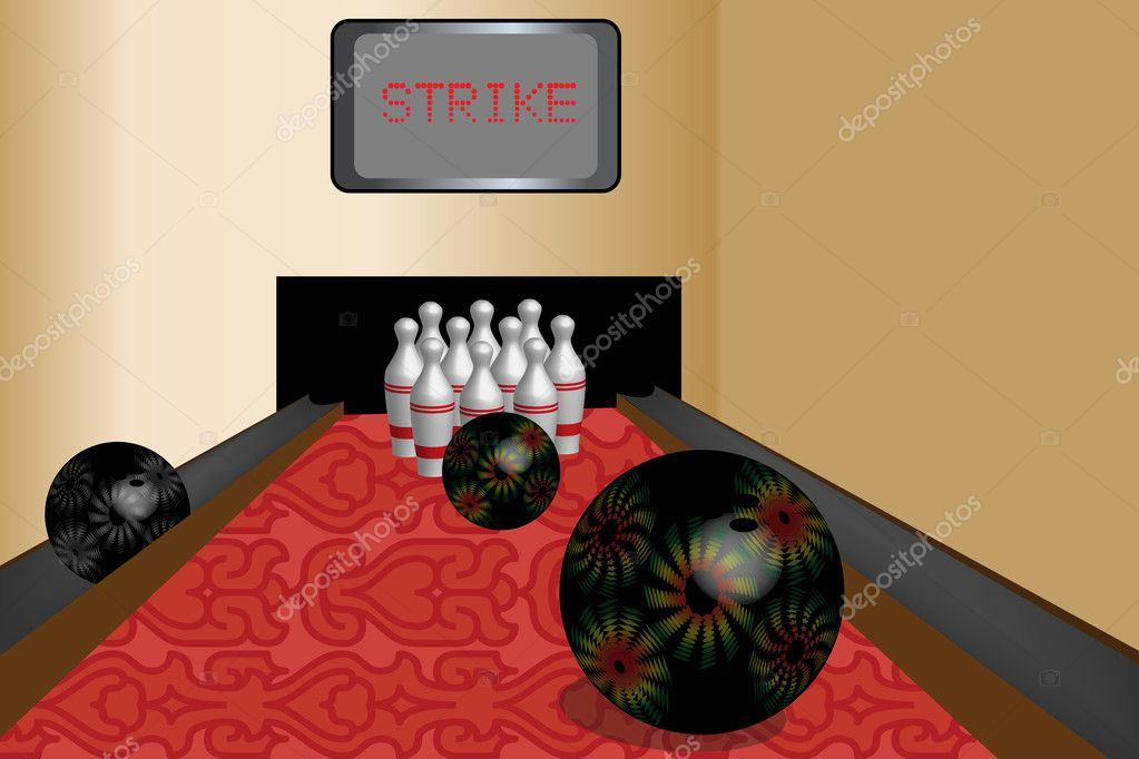Bowling room with balls and pins — Stock Vector #4147891