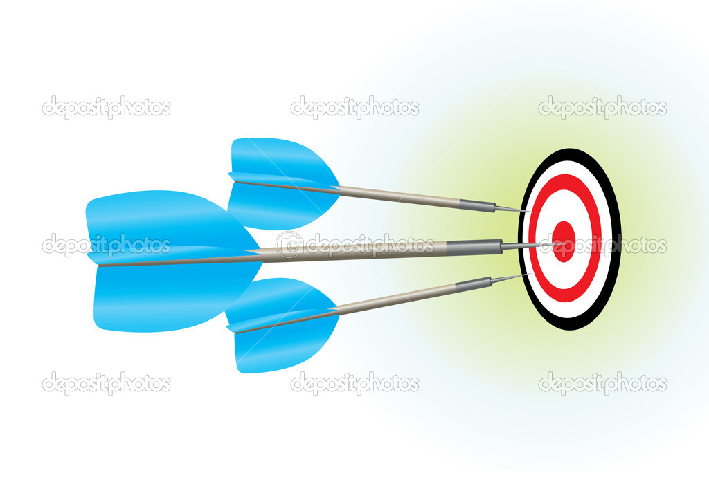Three darts smack in the center of the board.  — Stock Vector #4148026