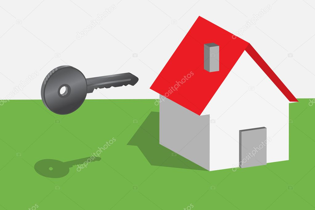 Conceptual representation of key and new house  Stock Vector #4149590