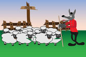 Cartoon with wolf and sheep — Vector de stock