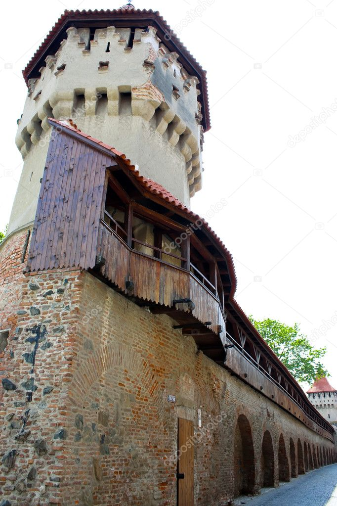 Medieval tower from old part of Sibiu city.  Stock Photo #4295183
