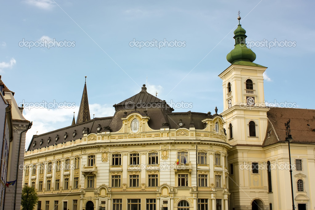 Old palace in central square from Sibiu. — Stock Photo #4295186