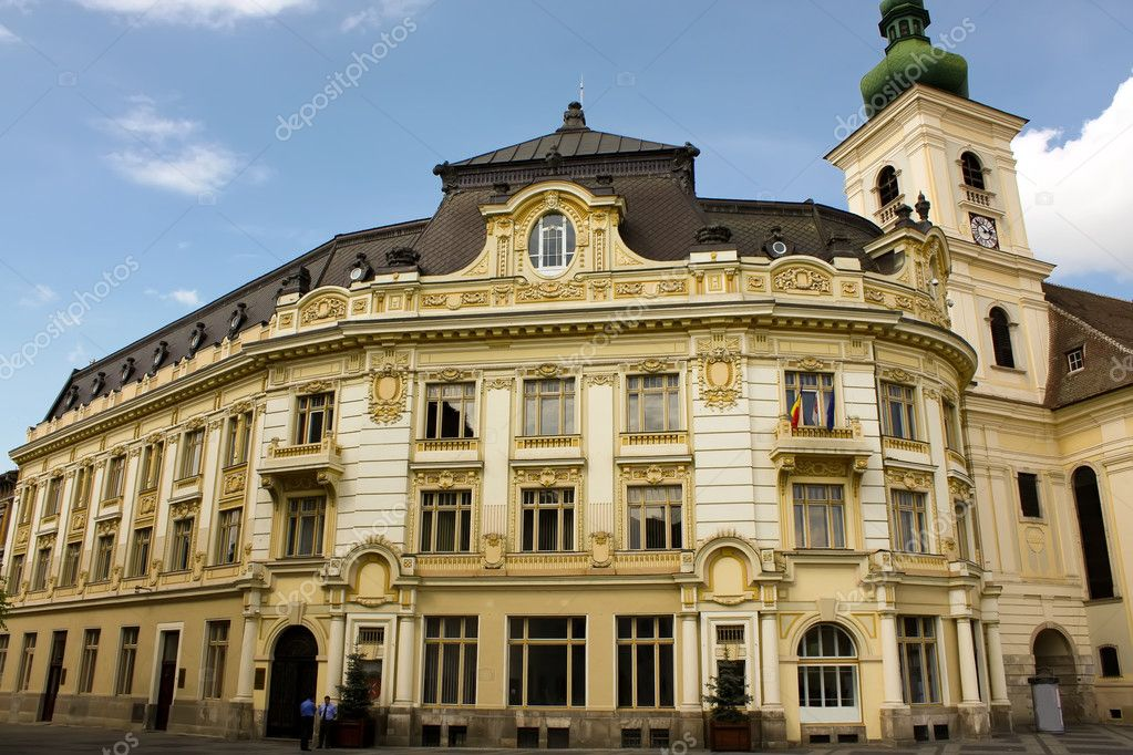 Old palace in central square from Sibiu. — Stock Photo #4295189