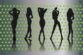Kadın siluetleri — Stok Vektör