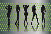 Woman silhouettes — Vettoriale Stock