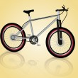 Graphic illustration of a mountain bike over shinny background — Imagens vectoriais em stock