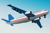 Grafische illustratie van commerciële vliegtuig wat vliegt weg. — Stockvector