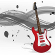 Graphic illustration of electric guitar with monochromatic background — Imagen vectorial