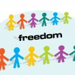 Conceptual illustration about freedom with lot of around — Vector de stock #4673781