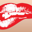 Graphic illustration of red shinning lips — Stok Vektör #4725107
