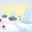 Winter greeting card with a little village — Vettoriali Stock