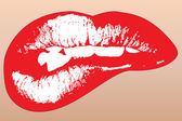 Graphic illustration of red shinning lips — Vecteur