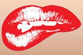 Ilustración gráfica de labios rojos brillante — Vector de stock
