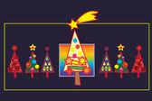 Vintern gratulationskort med julgranar — Stockvektor