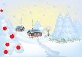Winter greeting card with a little village — Stock Vector