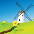 图库矢量图片: Graphic illustration of windmill in natural environment