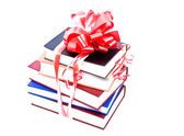 Books with a bow — Stock Photo