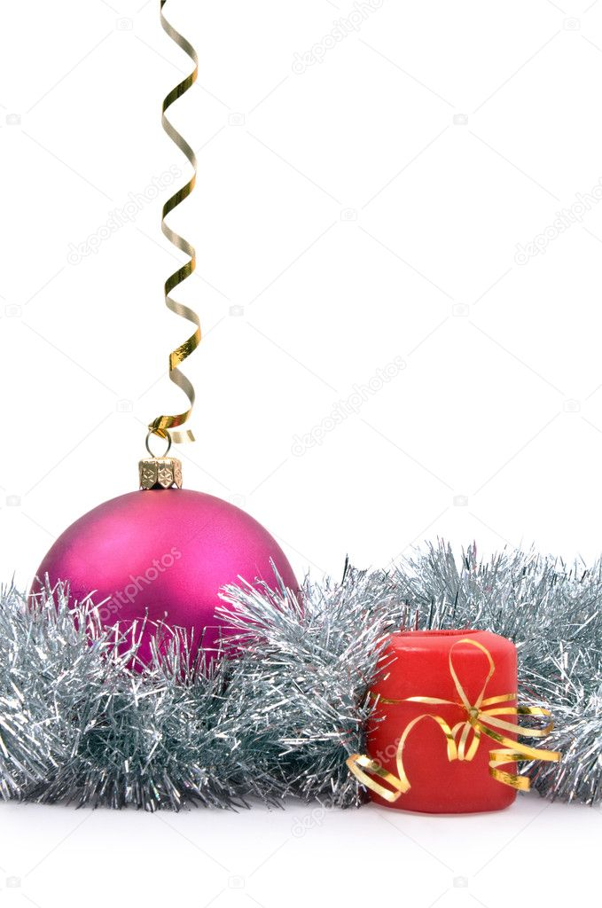Isolated hanging New Year's toy and candle on a white background — Stock Photo #4300252