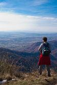 Tourists on mountain top — Stock Photo
