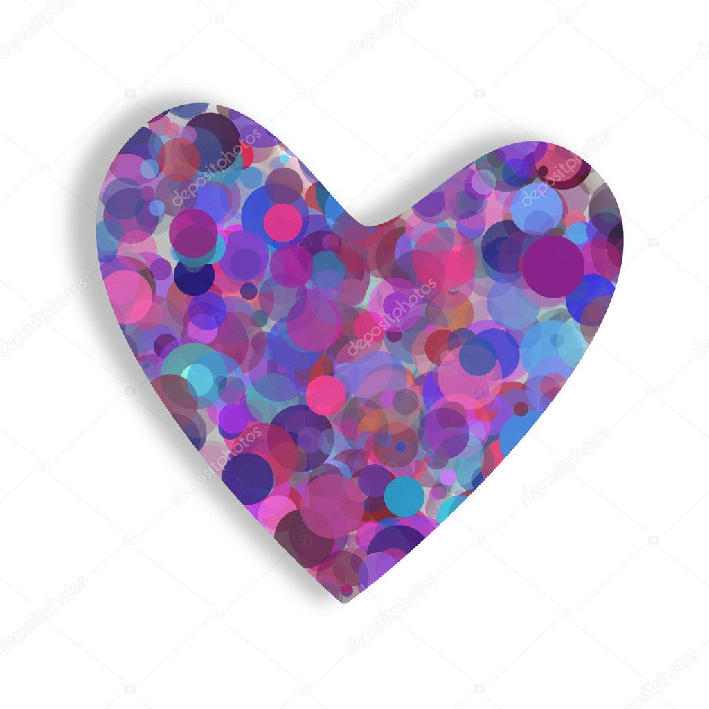 Color heart with abstract circles in pastel colors — Stock Photo #4784401