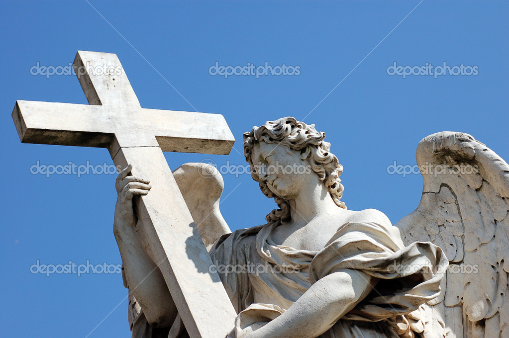 Angel in front at Castel Sant'Angelo, Best of Rome — Stock Photo #4135206