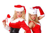 Pretty girls flirt in carnival costume — Stock Photo
