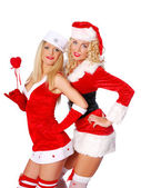 Smily christmas girls — Stock Photo