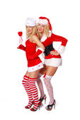 Pretty christmas girls dance — Stock Photo