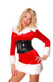 Beautiful woman in red christmas clothing — Stock Photo