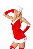 Young woman is posing in a sexy Snow Maiden costume — Stock Photo