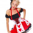Young woman in a sexy christmas costume is posing — Stock Photo