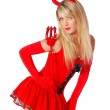 Young sexy woman in a devil christmas party costume — Stock Photo