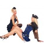 Sexy courtesan seduces a police girl — Stock Photo