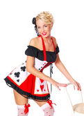 Sexy queen of hearts from Alice in Wonderland — Stock Photo