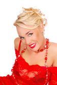 портрет красивой женщины в красный кружевном платье — Стоковое фото