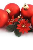 4 つの赤いクリスマス ボール — ストック写真