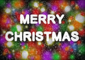 Merry Christmas hand writting text on colorful background with snowflakes — Stock Photo