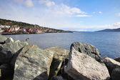 Kleine stad op noorse fjord — Stockfoto