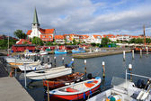 Marina and white church in Ronne, Bornholm, Denmark — Stock Photo