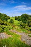 Golfbaan op heuvel met rotsen — Stockfoto