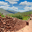 Stock Photo: Ancient city wall landscape, Peru