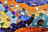 Detail of mosaic in Guell park in Barcelona — Stock Photo