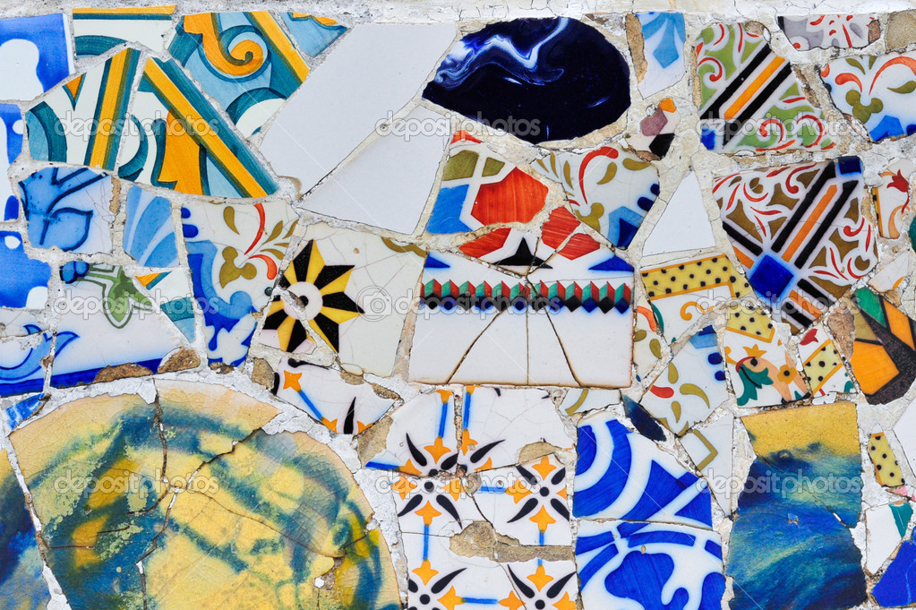 Modern mosaic in Guell park Antoni Gaudi in Barcelona ...