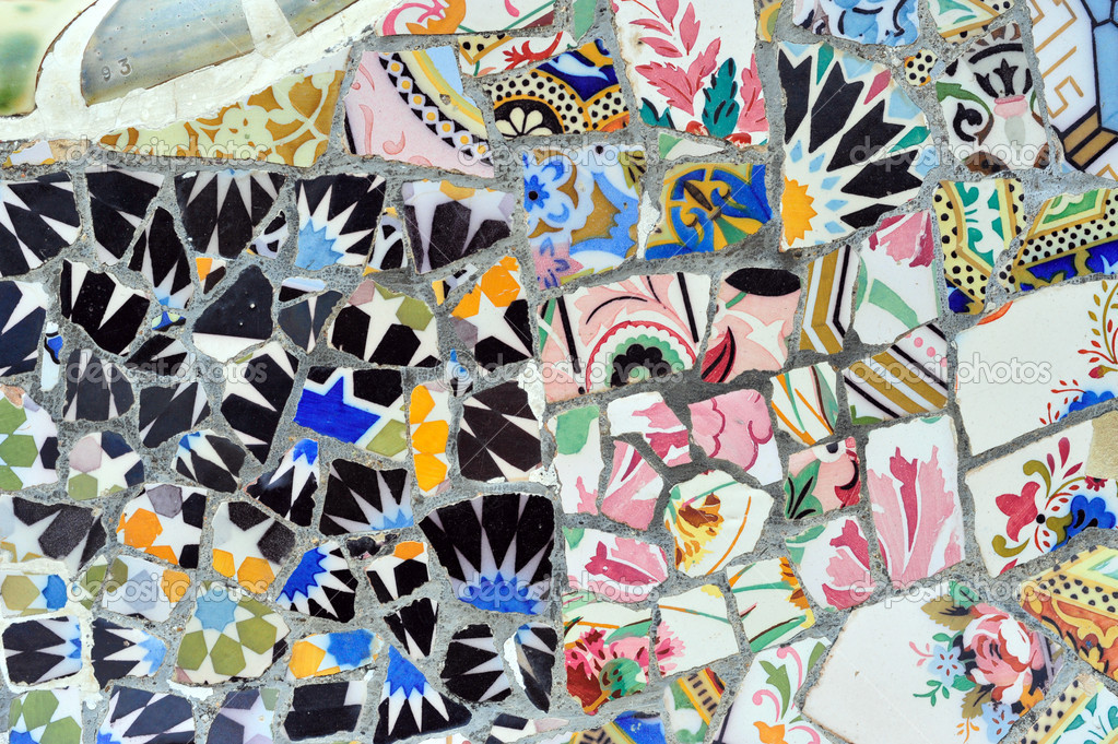 Antoni Gaudi mosaic in Guell park, Barcelona, Spain ...
